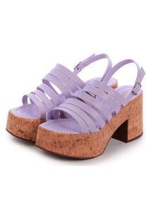 Sandália Salto Alto Cortiça De Tiras Damannu Shoes Demi Lilás