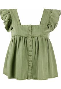 The Great. Blusa Com Babados Nas Mangas - Verde