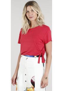 cd9e6e9fec CEA. Blusa Feminina Com Amarração Manga Curta Decote Redondo Vermelha