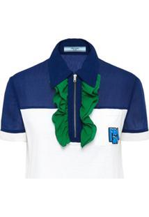 85f2db3592 Farfetch. Prada Camisa Polo Com Detalhe De Babado - Branco