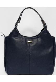 Bolsa Texturizada Em Couro- Azul Marinho & Dourada- Anette