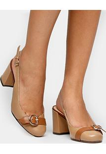 Scarpin Couro Shoestock Fivela Salto Grosso - Feminino-Caramelo