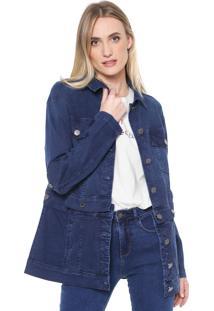 Jaqueta Jeans Forum Texturas Azul-Marinho
