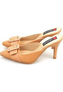Tamanco Salto Agulha Love Shoes Mule Fivela Nude