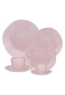Aparelho De Jantar Chá E Café 42 Peças Ryo Pink Sand Rosa