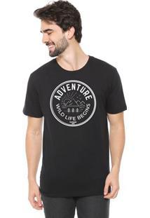 Camiseta De Algodão Masculina Eco Canyon Wild Life Begins Preta