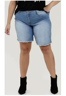 Bermuda Feminina Jeans Barra Desfiada Plus Size Biotipo