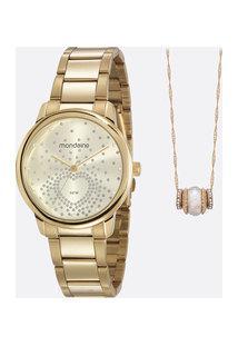 Kit Relógio Feminino Strass Mondaine 53699Lpmgde1