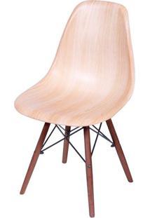 Cadeira Eames Polipropileno Amadeirado Claro Base Escura - 44854 - Sun House