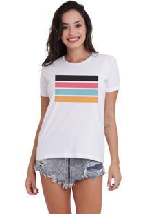 Camiseta Jay Jay Básica Listras Branca Dtg
