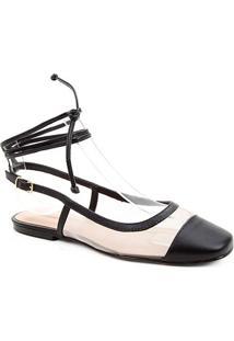 Sapatilha Couro Shoestock Bico Quadrado Tela Feminina - Feminino-Preto