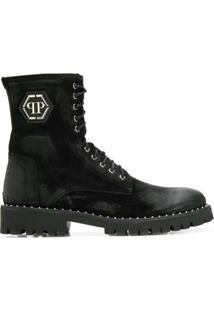 Philipp Plein Ankle Boot Com Placa De Logo - Preto