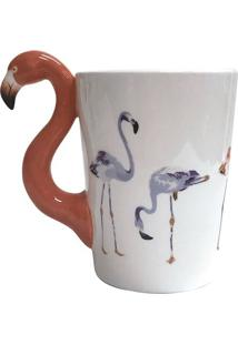 Caneca Fun Flamingo- Branca & Coral- 350Ml- Fullfull Fit