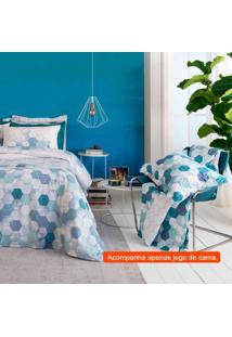 Jogo De Cama King Com 4 Peças Home Design Ii Algodão Azul