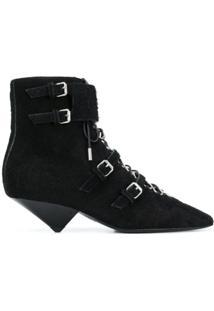 Saint Laurent Ankle Boot 'Blaze 45' Em Couro E Pele De Cobra - Preto
