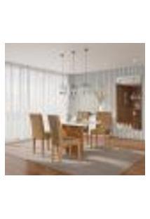 Conjunto De Mesa De Jantar Atlanta I Com Tampo De Vidro Off White E 4 Cadeiras Grécia Suede Chocolate