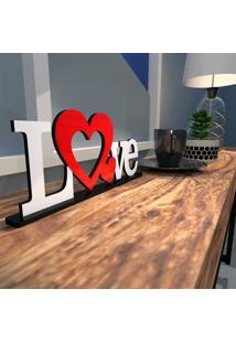 Escultura De Mesa Love Dois Corações Vermelho Branco Único