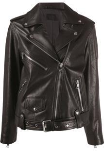 Rta Faux Leather Biker Jacket - Preto