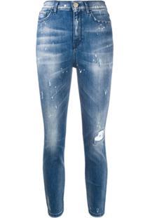 Pinko Calça Jeans Slim Com Efeito Destroyed - Azul