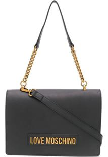 Love Moschino Logo-Plaque Shoulder Bag - Preto