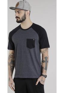 Camiseta Com Bolso Cinza Mescla Escuro