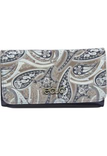 Carteira Recuo Fashion Bag Floral Cinza
