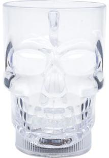 Caneca Caveira Com Led Light Up Transparente Plástica 630 Ml - Caneca Caveira Com Led Light Up Transparente Plástica 630 Ml