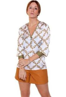Camisa Studio21 Fashion Mix Estampas - Feminino-Off White