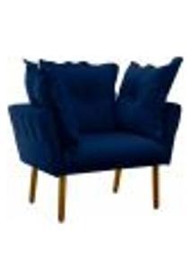 Poltrona Decorativa Londres Suede Azul Marinho Pés Palito Castanho D'Rossi