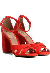 Sandália Ala Salto Grosso Multi Tiras Feminina - Feminino-Vermelho