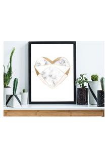 Quadro Decorativo Com Moldura Marble Heart Preto - 20X30Cm