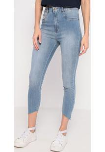 Jeans Super High Ankle Com Bolso- Azul Claro- Lança Lança Perfume