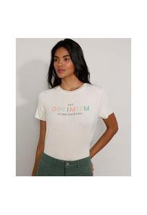 """Camiseta Feminina Manga Curta Canelada Optimism"""" Decote Redondo Off White"""""""