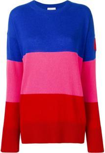 Moncler Suéter De Cashmere Com Patch - 455 Blue Pink Red