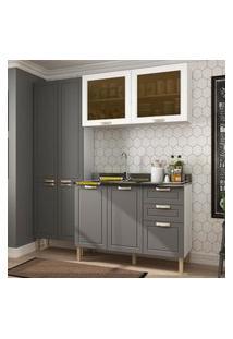 Cozinha Completa 3 Peças Americana Multimóveis 5673 Branco/Grafite