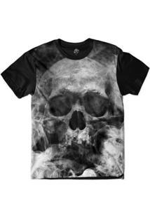 Camiseta Bsc Motoqueiros Caveira De Fumaça Sublimada Masculina - Masculino-Preto