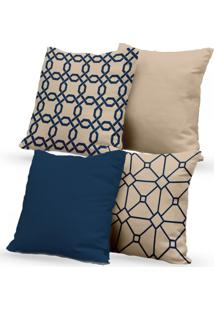 Kit 4 Capas De Almofadas Decorativas Own Geométricas E Lisas Bege E Azul 45X45 - Somente Capa
