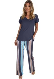 Pijama Inspirate Com Manga Curta Em Poliamida Sleeper Azul