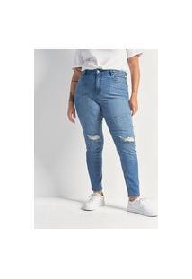 Calça Skinny Jeans Com Rasgos E Tachinhas Curve & Plus Size | Ashua Curve E Plus Size | Azul | 52