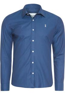 Camisa Masculina Dark Brilho Gorgurão - Azul Marinho