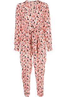 Stella Mccartney Macacão Com Amarração Na Cintura E Estampa Floral - Rosa