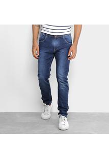Calça Jeans Skinny Rock Blue Elastano Lavagem Média Masculina - Masculino-Azul