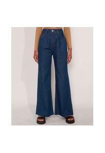 Calça Wide Pantalona Jeans Com Pences E Barra A Fio Cintura Super Alta Azul Escuro