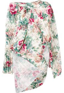 Junya Watanabe Blusa Assimétrica Floral - Branco