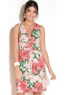 Vestido Clássico Com Cordel Floral Vermelho