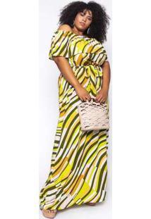 Vestido Longo Almaria Plus Size Sinap Estampado Pecan