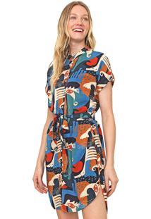 Vestido Cantão Curto Navegantes Azul-Marinho/Caramelo