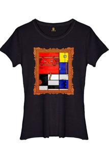 Camiseta Basica Joss Mondrian Cat Preto