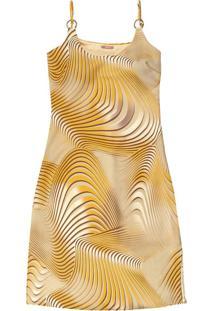 Vestido Curto Estampado Com Alça Amarelo