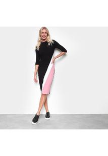 Vestido Calvin Klein Tubinho Midi Tricolor - Feminino